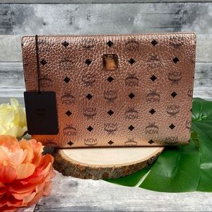 MCM Champagne gold rose clutch pouch bag